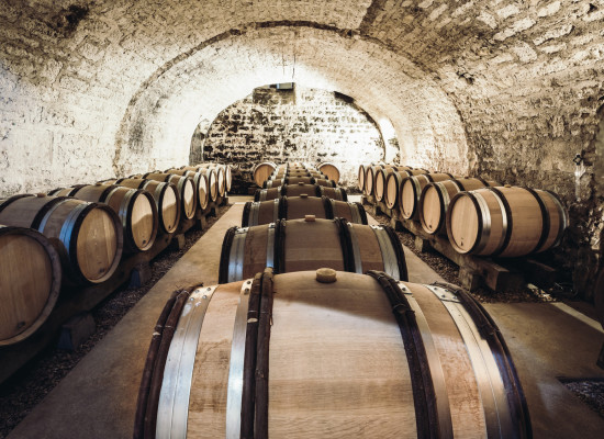 Barrels of wine in a wine cellar, an ancient wine cellar with vaulted brick ceilings, winemaking, space for text